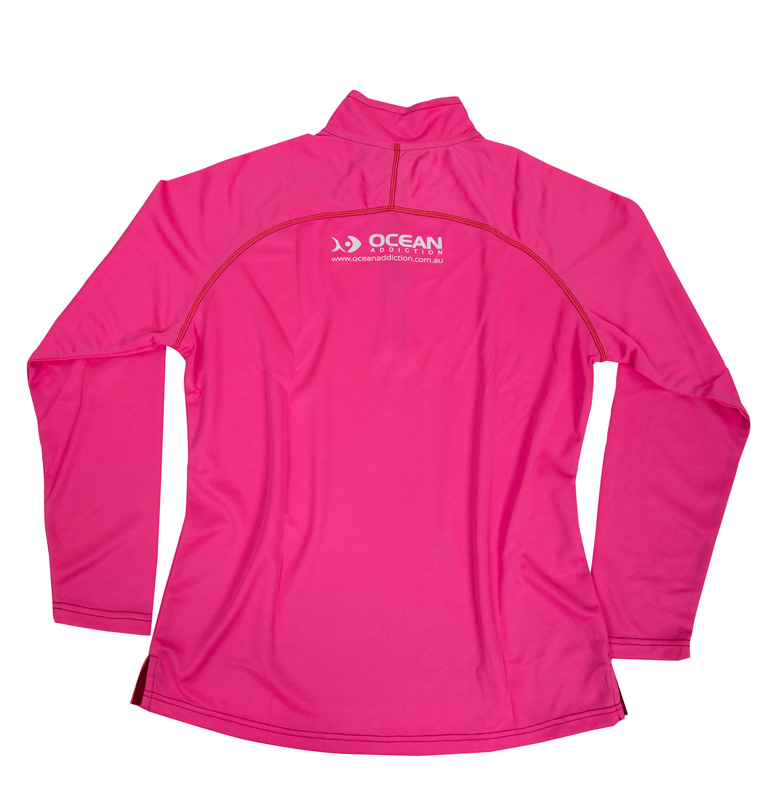Ocean addiction ladies fishing shirts pink ocean for Fishing shirts for women