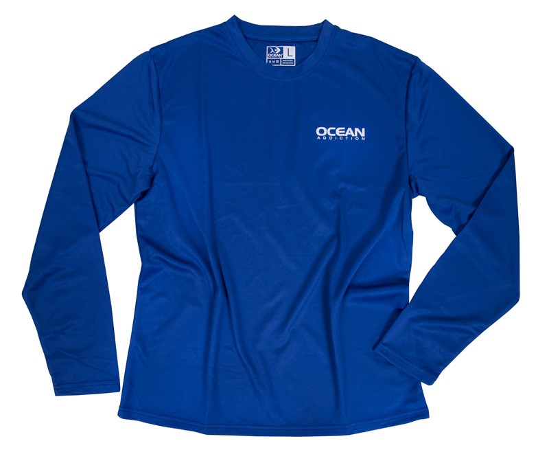 Ocean addiction all day fishing shirt blue ocean for Fishing shirts that keep you cool